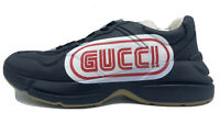 $1,000 Gucci SEGA Black Leather Sneakers Size US 8.5 Made In Italy