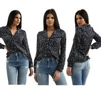 Womens Silky Navy Polka Dot Long Sleeves V Neck Shirt Casual Top For Ladies