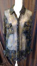 Debbie Shuchat Cargo Print Shirt Size XL Long Sleeve Navy Tie Dye 100% Silk