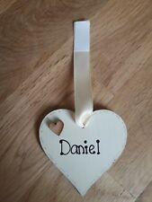 Additional Home Heart One heart only Personalised Cream heart 6cm with ribbon