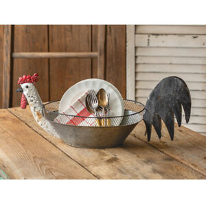 Farmhouse new Rooster Bowl -Basket in distressed Tin