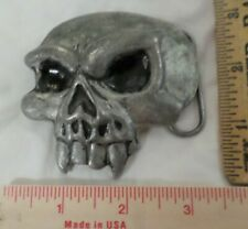 vintage SKULL buckle collectible old belt accessory with FANGS