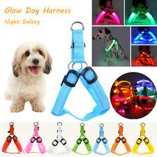 Ajustable LED Brillante Mascota Perro Arneses Chaleco Paseo Collar Noche Safety