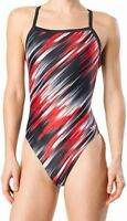 Speedo Women's Swimwear Black Size 26 Printed One Piece Swimsuit $74 #295
