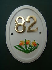 Oval house number sign with hand-painted motif of daffodils any number 1 to 999