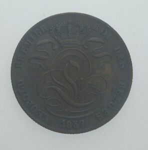 1857 Belgium 5 Cents Copper Coin in XF Condition KM #5.1