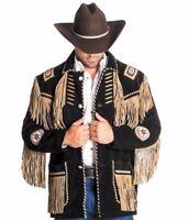 Men's Traditional Western cowboy Leather Jacket coat With Fringe Bone and Beads