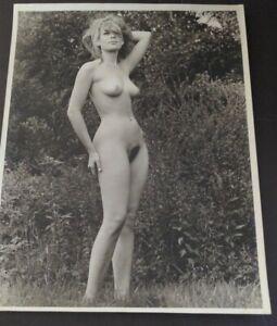 1960s Original Large Nude Figure Art Photo Beautiful Hippie Girl Outside vv