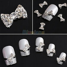 BA_ 10x DIY DECORATIONS 3D CLEAR ALLOY RHINESTONE BOW TIE NAIL ART SLICES