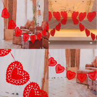 Red Love Heart Flags Garland Banner Paper Hanging Xmas Wedding Party Decoration