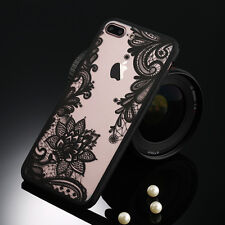 Lace Pattern Silicone Bumper Hard Back Phone Case Cover For iPhone 5s 6 7 8 Plus