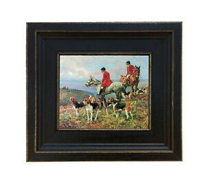 Fox Hunting Scene Oil Painting Print on Canvas Frame Horse Animal Wall Art Decor