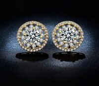 Women's Gold Plated Crystal Pave Round Cut Flower Cz Stud Earrings - UK SELLER