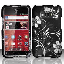 For LG Optimus Elite LS696 Rubberized HARD Case Phone Cover White Flowers