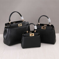 3 Szs Real Leather Trapezoid Top Handle Shoulder Purse Grab Bag Crossbody Tote