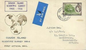 GOUGH ISLAND SCIENTIFIC SURVEY 1955 TYPED COVER QEII 1/- TO ENGLAND REF 1122