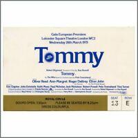 The Who 1975 Tommy Gala European Premiere Ticket Stub (UK)