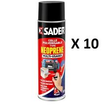 10 COLLE AEROSOL 500 ML MULTI USAGES NEOPRENE SADER BOIS METAL PLASTIQUE CUIR