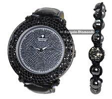 mens gunmetal black clubbing watch bracelet deluxe gift set diamond master