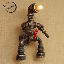 Robot Style Rustic Iron Water Pipe Wall Lamp E27 Sconce Lights Lighting Fixtures