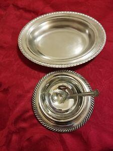 Vintage Wm.A Rogers Silver set, Gravy Bowl, Avon oval bowl, floral sugar spoon.
