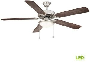 Ceiling Fan With Light Kit LED 56in Brushed Nickel 5 Blades Downrod Reversible