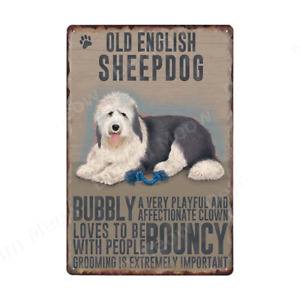OLD ENGLISH SHEEPDOG Sign Vintage Metal Tin Signs Dog Lovers Pet Shop Wall Decor