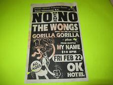 VINTAGE NO MEANS NO THE WONGS 11 X 17 TOUR FLYER POSTER PUNK HARDCORE