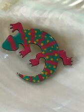 Stripes & Yellow Dots Salamander Gecko Pin Estate Large Hard Plastic Teal w Pink
