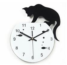 Moderne Wanduhr Design Wandtattoo Dekoration Uhren Freche Katze NEU