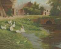 Donald Mcleod - 20th Century Oil, A Summer Farm, Geese in the River