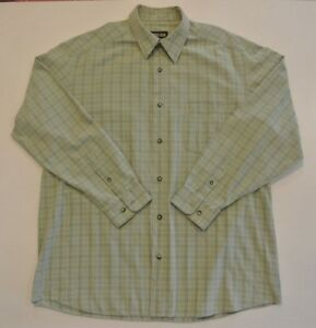 COUNTRY ROAD SIZE L MENS  L/S  CASUAL SHIRT PALE OLIVE GREEN PLAID VGC