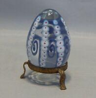 Signed Art Glass Egg Figurine