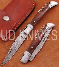 UD KNIVES CUSTOM HAND FORGED DAMASCUS STEEL POCKET FOLDING HUNTING KNIFE SN-4000