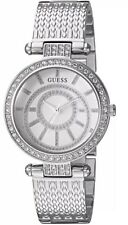 New Guess Women's Silver Stainless-Steel Japanese Quartz Fashion Watch U1008L1