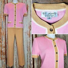 ST. JOHN COLLECTION Knits Pink JACKET Pants Sz 6-8P 2pc Suit Beige Cream USA