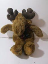 "Reindeer Moose Plush 18"" With Christmas Plaid Scarf Holiday Decor"