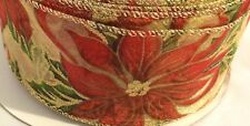 5 Yards Wired Ribbon~Red Sheer~Gold Sparkle Holly~Christmas~Wreath~Holiday~Bow