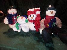 plush snowman lot of 4 skating shelf sitter 2 stuffed scarf hat free shipping