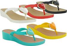 WOMEN SUMMER FLIP FLOPS JELLY SANDALS LADIES TOE POST BEACH MULE UK SIZE