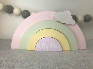 Personalised Wooden Rainbow Stacker Girl Boy Nursery Bedroom Decor Shelfie