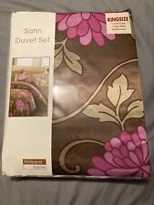 Satin Floral King Size Duvet Set