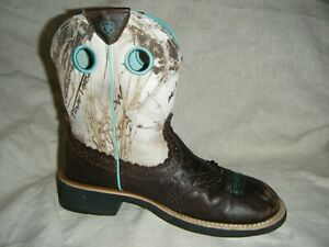 Ariat Fatbaby Boots Camo True Timber MC2 Brown Leather Aqua Turquoise Logo 9 NR