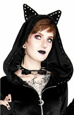 Restyle Moon and Bow Gothic Rivet Spikes Black Vinyl Nu Goth Emo Choker Necklace