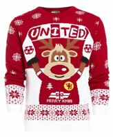 Boys Christmas Jumper Red United Xmas Children Age 7 8 9 10 11 12 13 Years