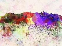 Painting Cityscape Edinburgh Skyline Paint Splash (2) Canvas Art Print