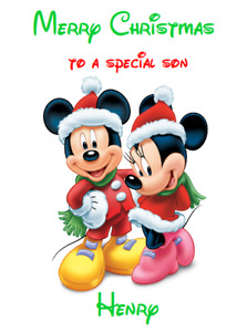 PERSONALISED GREETINGS CARD CHRISTMAS XMAS DISNEY MICKEY MOUSE MINNIE MINI MICKY