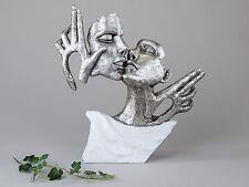 douille e14 Déco Buste Sculpture Couple amoureux en céramique blanche/