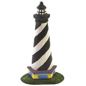 """Cast Iron Doorstop Door Wedge Black & White Lighthouse Door Stop 10.25"""" Tall"""