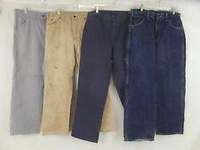 Lot of 4 Carhartt Dickies Canvas Blue Denim Carpenter Work Pants Size 34x30